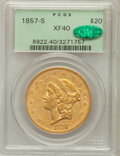 Liberty Double Eagles, 1857-S $20 XF40 PCGS. CAC....