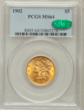 Liberty Half Eagles: , 1902 $5 MS64 PCGS. CAC. PCGS Population (81/30). NGC Census:(110/17). Mintage: 172,400. Numismedia Wsl. Price for problem ...