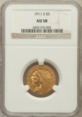 Indian Half Eagles: , 1911-S $5 AU58 NGC. NGC Census: (783/962). PCGS Population(262/865). Mintage: 1,416,000. Numismedia Wsl. Price for problem...