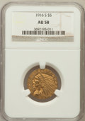 Indian Half Eagles: , 1916-S $5 AU58 NGC. NGC Census: (600/941). PCGS Population(211/783). Mintage: 240,000. Numismedia Wsl. Price for problem f...