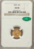 Gold Dollars: , 1855 G$1 AU58 NGC. CAC. NGC Census: (1925/1555). PCGS Population(442/1224). Mintage: 758,269. Numismedia Wsl. Price for pr...