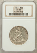 Seated Half Dollars: , 1857 50C AU55 NGC. NGC Census: (26/108). PCGS Population (19/68).Mintage: 1,988,000. Numismedia Wsl. Price for problem fre...