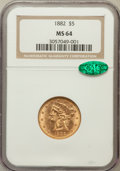Liberty Half Eagles: , 1882 $5 MS64 NGC. CAC. NGC Census: (340/31). PCGS Population (143/14). Mintage: 2,514,568. Numismedia Wsl. Price for proble...