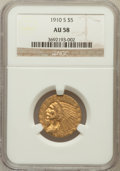 Indian Half Eagles: , 1910-S $5 AU58 NGC. NGC Census: (545/335). PCGS Population(165/210). Mintage: 770,200. Numismedia Wsl. Price for problem f...