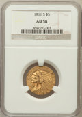 Indian Half Eagles: , 1911-S $5 AU58 NGC. NGC Census: (786/964). PCGS Population(261/866). Mintage: 1,416,000. Numismedia Wsl. Price for problem...
