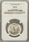 Commemorative Silver: , 1934 50C Texas MS64 NGC. NGC Census: (680/1339). PCGS Population(1405/1661). Mintage: 61,463. Numismedia Wsl. Price for pr...