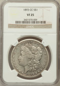 Morgan Dollars: , 1893-CC $1 VF25 NGC. NGC Census: (135/2374). PCGS Population(171/4366). Mintage: 677,000. Numismedia Wsl. Price for proble...