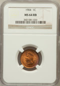 Indian Cents: , 1904 1C MS64 Red and Brown NGC. NGC Census: (254/123). PCGSPopulation (424/75). Mintage: 61,328,016. Numismedia Wsl. Price...
