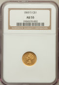 Gold Dollars: , 1860-S G$1 AU55 NGC. NGC Census: (27/89). PCGS Population (33/42).Mintage: 13,000. Numismedia Wsl. Price for problem free ...