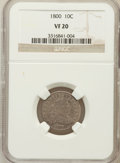 Early Dimes: , 1800 10C VF20 NGC. NGC Census: (3/39). PCGS Population (3/42).Mintage: 21,760. Numismedia Wsl. Price for problem free NGC/...