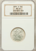 Barber Quarters: , 1894-S 25C MS64 NGC. NGC Census: (53/13). PCGS Population (49/19).Mintage: 2,648,821. Numismedia Wsl. Price for problem fr...