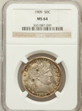 Barber Half Dollars: , 1909 50C MS64 NGC. NGC Census: (79/31). PCGS Population (111/63).Mintage: 2,368,650. Numismedia Wsl. Price for problem fre...
