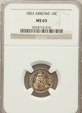 Seated Dimes: , 1853 10C Arrows MS65 NGC. NGC Census: (72/52). PCGS Population(73/51). Mintage: 12,078,010. Numismedia Wsl. Price for prob...