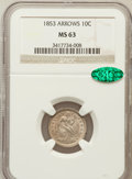Seated Dimes: , 1853 10C Arrows MS63 NGC. CAC. NGC Census: (126/290). PCGSPopulation (119/267). Mintage: 12,078,010. Numismedia Wsl. Price...