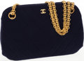 Luxury Accessories:Bags, Chanel Navy Chevron Linen Shoulder Bag with Gold Chain Strap. ...