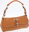Luxury Accessories:Bags, Prada Tan Leather Shoulder Bag with Mini Luggage Tag. ...