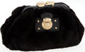 Luxury Accessories:Bags, Marc Jacobs Black Rabbit Fur Clutch with Gold Kiss Lock Closure....