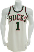 Basketball Collectibles:Uniforms, 1970-71 Oscar Robertson NBA Championship Season Game Worn Milwaukee Bucks Jersey, MEARS A9.5....