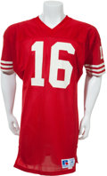 Football Collectibles:Uniforms, 1987-89 Joe Montana Game Worn San Francisco 49'ers Jersey, MEARSA10....
