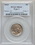 Buffalo Nickels: , 1913 5C Type One MS63 PCGS. PCGS Population (1130/8895). NGCCensus: (590/5860). Mintage: 30,993,520. Numismedia Wsl. Price...