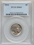 Buffalo Nickels: , 1914 5C MS63 PCGS. PCGS Population (366/1057). NGC Census:(254/682). Mintage: 20,665,738. Numismedia Wsl. Price for proble...