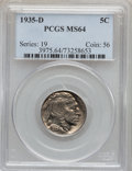Buffalo Nickels: , 1935-D 5C MS64 PCGS. PCGS Population (1104/576). NGC Census:(604/313). Mintage: 12,092,000. Numismedia Wsl. Price for prob...