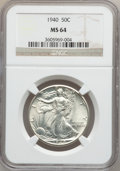 Walking Liberty Half Dollars: , 1940 50C MS64 NGC. NGC Census: (908/2245). PCGS Population(1509/3155). Mintage: 9,167,279. Numismedia Wsl. Price for probl...