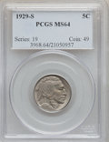 Buffalo Nickels: , 1929-S 5C MS64 PCGS. PCGS Population (689/661). NGC Census:(376/242). Mintage: 7,754,000. Numismedia Wsl. Price for proble...