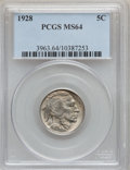 Buffalo Nickels: , 1928 5C MS64 PCGS. PCGS Population (604/715). NGC Census:(362/268). Mintage: 23,411,000. Numismedia Wsl. Price forproblem...