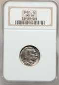 Buffalo Nickels: , 1917 5C MS64 NGC. NGC Census: (345/179). PCGS Population (506/438).Mintage: 51,424,020. Numismedia Wsl. Price for problem ...