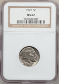 Buffalo Nickels: , 1929 5C MS62 NGC. NGC Census: (66/948). PCGS Population (23/1781).Mintage: 36,446,000. Numismedia Wsl. Price for problem f...