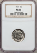 Buffalo Nickels: , 1937 5C MS66 NGC. NGC Census: (4048/352). PCGS Population(3545/316). Mintage: 79,485,768. Numismedia Wsl. Price forproble...