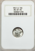 Mercury Dimes: , 1941-D 10C MS67 Full Bands NGC. NGC Census: (443/5). PCGS Population (546/23). Mintage: 46,634,000. Numismedia Wsl. Price f...