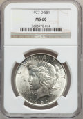 Peace Dollars: , 1927-D $1 MS60 NGC. NGC Census: (47/2238). PCGS Population(64/4063). Mintage: 1,268,900. Numismedia Wsl. Price for problem...
