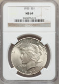 Peace Dollars: , 1935 $1 MS64 NGC. NGC Census: (1972/801). PCGS Population(2188/929). Mintage: 1,576,000. Numismedia Wsl. Price forproblem...