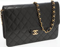 Luxury Accessories:Bags, Chanel Black Lambskin Leather Flap Clutch with Shoulder Strap. ...