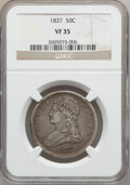 Reeded Edge Half Dollars: , 1837 50C VF35 NGC. NGC Census: (17/1116). PCGS Population(63/1189). Mintage: 3,629,820. Numismedia Wsl. Price for problem...