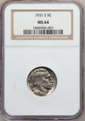 Buffalo Nickels: , 1931-S 5C MS64 NGC. NGC Census: (774/762). PCGS Population(1355/1860). Mintage: 1,200,000. Numismedia Wsl. Price for probl...