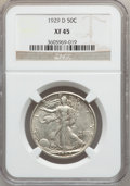 Walking Liberty Half Dollars: , 1929-D 50C XF45 NGC. NGC Census: (24/712). PCGS Population(60/1159). Mintage: 1,001,200. Numismedia Wsl. Price for problem...