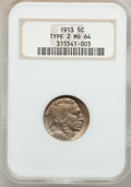 Buffalo Nickels: , 1913 5C Type Two MS64 NGC. NGC Census: (688/391). PCGS Population(1022/725). Mintage: 29,858,700. Numismedia Wsl. Price fo...