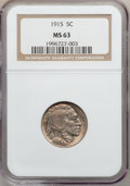 Buffalo Nickels: , 1915 5C MS63 NGC. NGC Census: (206/862). PCGS Population(309/1398). Mintage: 20,987,270. Numismedia Wsl. Price forproblem...