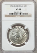 Commemorative Silver: , 1935-S 50C Arkansas MS64 NGC. NGC Census: (291/454). PCGSPopulation (459/595). Mintage: 5,506. Numismedia Wsl. Price forp...