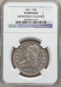 Bust Half Dollars: , 1821 50C -- Improperly Cleaned -- NGC Details. VF. NGC Census:(10/505). PCGS Population (7/633). Mintage: 1,305,797. Numis...