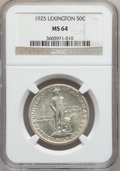 Commemorative Silver: , 1925 50C Lexington MS64 NGC. NGC Census: (1811/1093). PCGSPopulation (1779/1280). Mintage: 162,013. Numismedia Wsl. Price ...