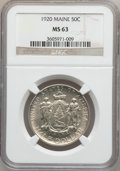 Commemorative Silver: , 1920 50C Maine MS63 NGC. NGC Census: (328/2274). PCGS Population(665/2560). Mintage: 50,028. Numismedia Wsl. Price for pro...