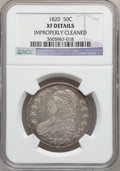 Bust Half Dollars: , 1820 50C Curl Base 2, Small Date -- Improperly Cleaned -- NGCDetails. XF. NGC Census: (24/1560). PCGS Population (12/140)....