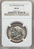 Commemorative Silver: , 1936 50C Bridgeport MS63 NGC. NGC Census: (214/2646). PCGSPopulation (556/4156). Mintage: 25,015. Numismedia Wsl. Price fo...