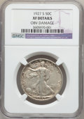 Walking Liberty Half Dollars: , 1927-S 50C -- Obv Damage -- NGC Details. XF. NGC Census: (7/541).PCGS Population (27/744). Mintage: 2,392,000. Numismedia ...