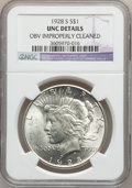 Peace Dollars: , 1928-S $1 -- Obv Improperly Cleaned -- NGC Details. UNC. NGCCensus: (32/3584). PCGS Population (40/4846). Mintage: 1,632,0...