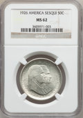 Commemorative Silver: , 1926 50C Sesquicentennial MS62 NGC. NGC Census: (554/3364). PCGSPopulation (552/3787). Mintage: 141,120. Numismedia Wsl. P...